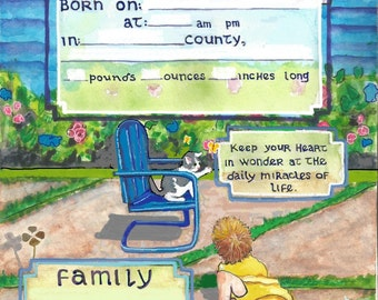 Dear Child BIRTH certificate - Blue Chair Series
