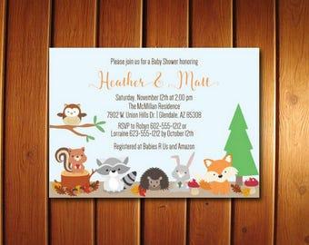 Woodland Baby shower Invitation - Forest Animals Baby Shower Invitations