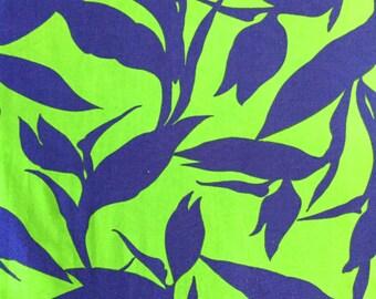 Stunning 70s Large Print Hawaiian Fabric// Vintage VHY Hawaiian Textiles// Cotton Yardage// Home Decor// Apparel//New Old Stock// 3 Yards
