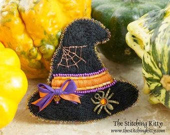 TSK03 - Spider and Web Witch Hat Brooch/ Ornament Kit (Makes 2)