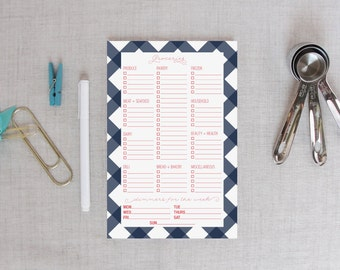 Grocery Shopping List Notepad   Buffalo Check Pattern   Personalized Color   Weekly Meal Plan   Dinner Planner   Grocery Store