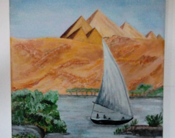 Painting sailboat on the Nile