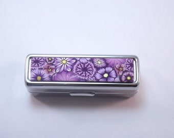 Handcrafted Polymer Clay Embellished Purple Millefiori Lipstick Holder, Pill Box
