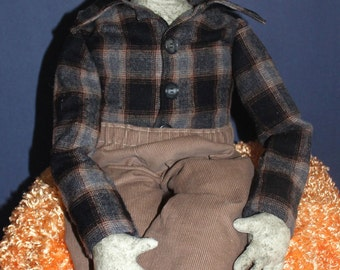 Instant Download Pattern - Mr. Frank N. Stein cloth doll for Fall & Halloween decorating an original design of snsdolls
