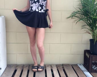 Small B&W Floral Skirted Vintage Swimsuit