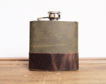 Custom Leather Flask, Green and brown leather, Genuine Leather Strips