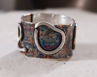 Wide Band Ring Oxidized Sterling Silver Contemporary Jewelry