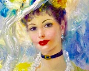 Vintage Lady Yellow Edwardian Strevens Graphic Image Art Fabric Block Doodaba