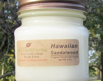 HAWAIIAN SANDALWOOD CANDLE - Sandalwood Candles, Earthy Candles, Incense Aroma, Soft Candles, Light Scent