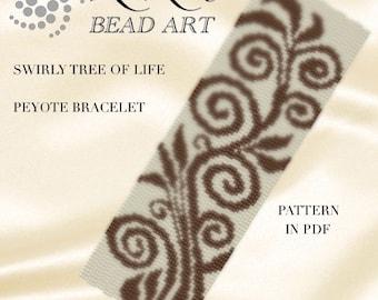 Peyote Pattern for bracelet - Swirly tree of life peyote bracelet pattern PDF instant download