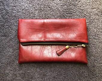 Vegan Leather Fold-over Clutch Purse