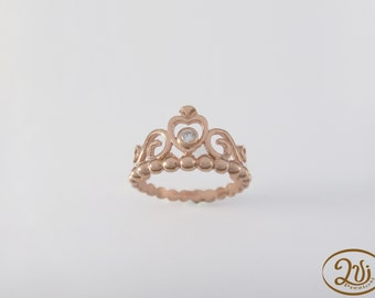 Ring crown diadem  925 silver with cubic zirconia