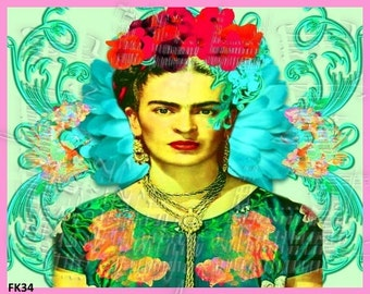 Whimsical Frida Kahlo Fabric Quilting Applique Craft Cotton Block