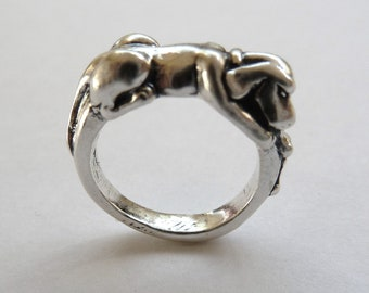Sterling Silver Dog with Two Bones Ring