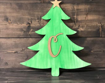 Wooden Christmas Tree Cut Out  - Personalized