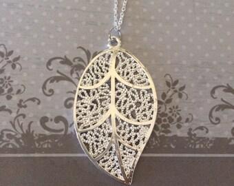 Leaf Necklace - Leaf Jewelry - Leaf Necklace Silver - Leaf Pendant - Silver Leaf - Silver Leaf Necklace - Silver Leaf Pendant - Lace Jewelry