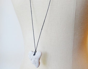 Untamed Heart Stone Necklace, Stone Jewelry, Simple, Water Washed, Surf Tumbled, Heart Shaped Stone, Grey, Gray,  Minimalist