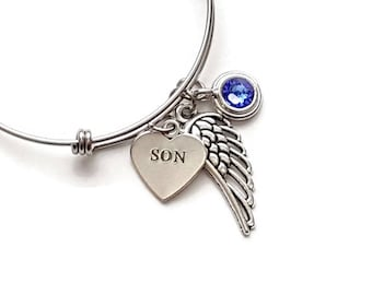 Memorial Bracelet In Loving Memory of Son, Remembrance Bracelet, Memorial Gift, Memorial Jewelry with Angel Wing and Birthstone, Gift Idea