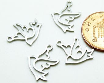 5 x Stainless dove charm| bird charm stainless steel |  bird stainless charm| bird stainless charm | stainless dove charm