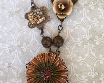 Statement Necklace, Assemblage Necklace,  Upcycled Necklace, Repurposed Necklace,  Floral Necklace