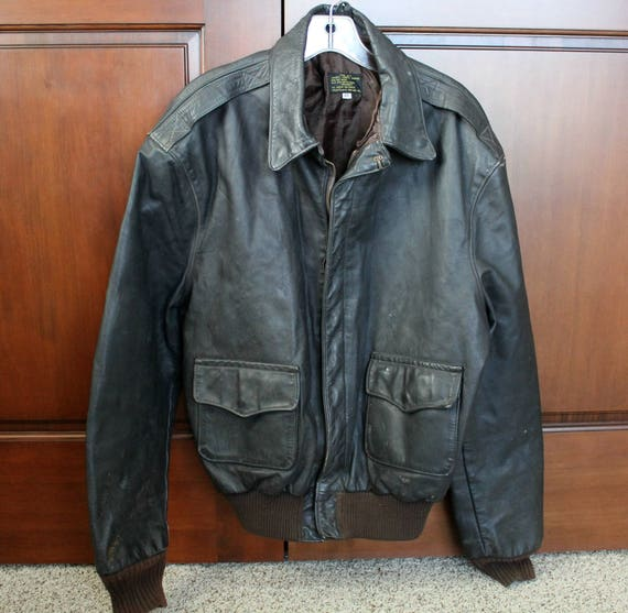 Vintage Leather Bomber Jacket, Type A-2 Army Air Force Flight Jacket, Sz 46 Lined Coat