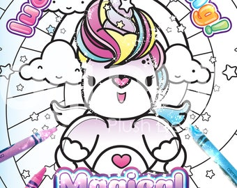 Unicorn Coloring Page, Digital Download Colouring Sheet, Cute Adult Colouring, A4 Kawaii Unicorn Coloring, kids Colouring Sheet