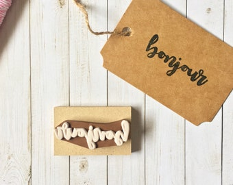 Bonjour Stamp - French Stamp - Hello Stamp - Calligraphy Stamp - Packaging Stamp - Greeting Stamp - Hand carved Stamp - Rubber stamp