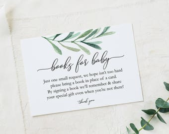 Books for Baby card - Greenery Book Request Card - Printable Baby Shower Cards - Books for Baby Download - PDF - 2.5x3.5 inches - #GD3824