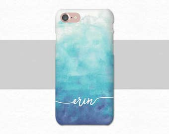 Blue Ombre Watercolor Custom Name iPhone Case, Watercolor iPhone 7 Case, Blue iPhone 6 Case, Plus, Personalized iPhone Case Custom iPhone 6S