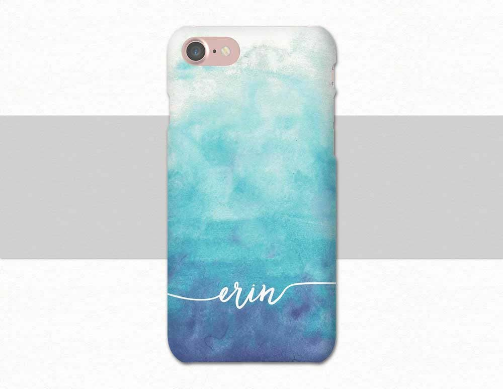 custom cases for iphone 6 blue ombre watercolor custom name iphone watercolor 1612