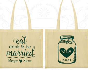 Eat Drink and Be Married Bags, Personalized Wedding Bags, Mason Jar Wedding Bags, Monogrammed Bags, Tote Bag Canvas (15)