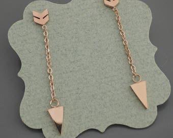 Rose Gold Earrings - Arrow Earrings - Chain Earrings - Stud Earrings - Geometric Earrings - Gold Earrings
