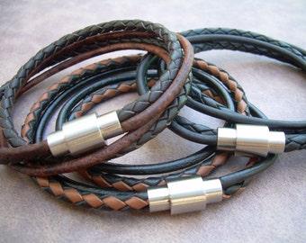 Mens  Leather Bracelet,Stainless Steel Magnetic Clasp,Mens Bracelet, Mens Jewelry, Leather Bracelet