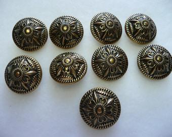 9 Vintage Antique Gold Tone Victorian Brass Buttons