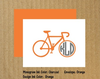 Bike Note Cards, Set of 10, Biking Note Cards, Monogram Note Cards, Bicycle, Biking, Monogram, Thank You Cards, Bike Note Cards, Cycling