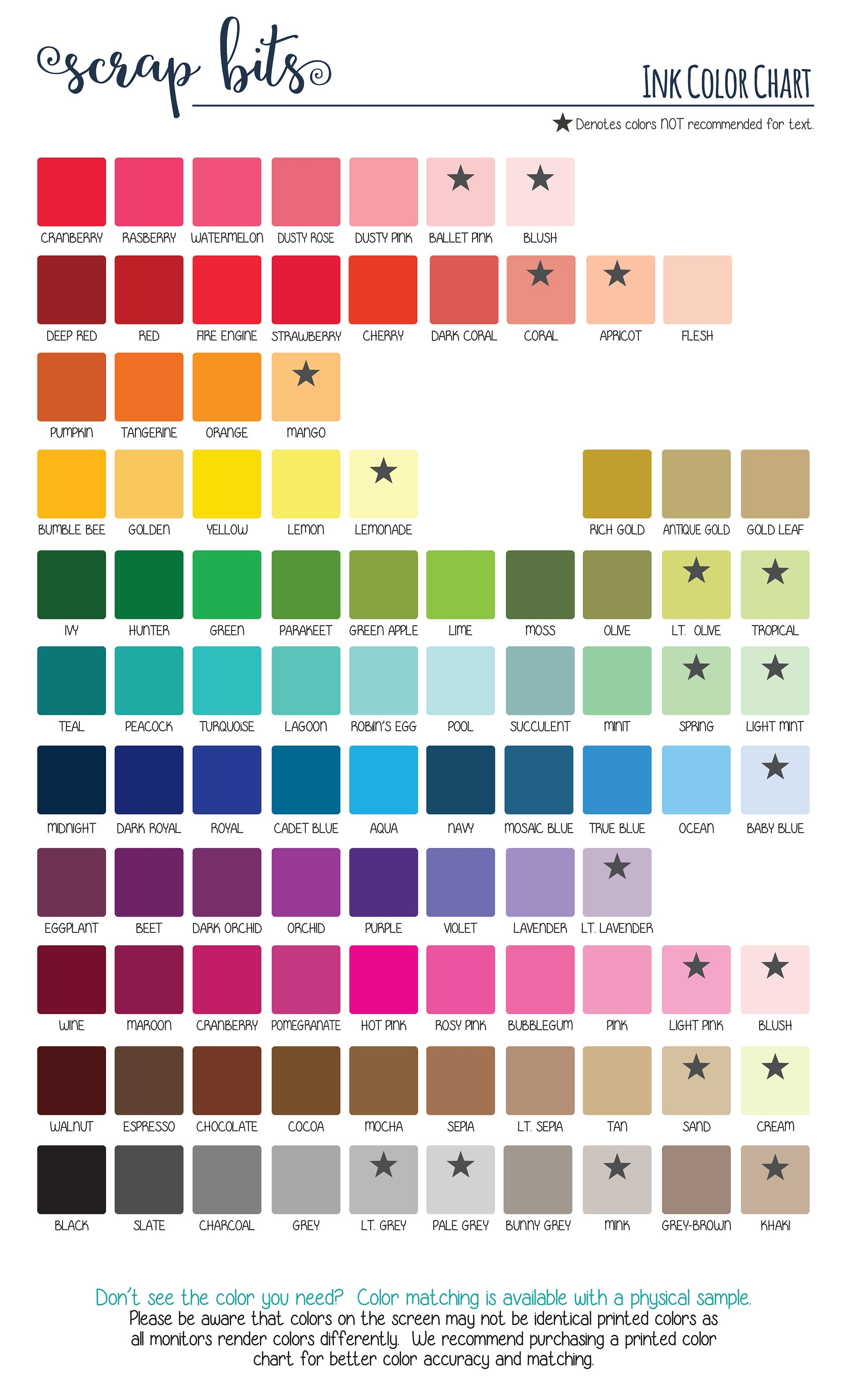 Ink color chart for personalized stickers tags printed zoom nvjuhfo Image collections