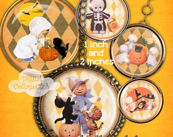 Cute Halloween Children 1 and 2 Inch Digital Collage Sheet Round Circle Images for Jewery Making, Bottle Caps, Cupcake Toppers