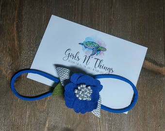 Blue and Silver flower headband.