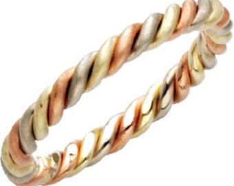 14k rose-white-green gold ring