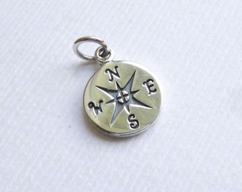 Sterling Silver Compass Charm -- 1 Piece -- Silver Nautical Pendant
