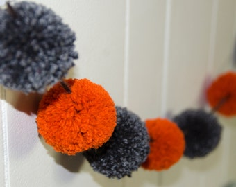 Orange and Gray Pom Pom Garland Over 5 Feet (13 - 2 Inch Pom Poms)   Pom Banner - Pom Pom Garland - Photography Party Decor