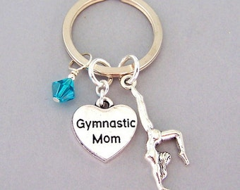 Gymnastics Mom keyring, personalized gymnastics Mom key ring, birthstone keychain, gymnast gift, handstand, heart, Mother's Day gift