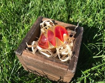 Handmade Glass Easter Egg #3 - Red & Yellow
