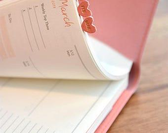 Heart Leather Index Sticker - Planner Sticker - Index Tabs - Marker - Month Tabs - Shine Index Sticker