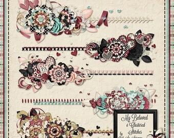 On Sale 50% My Beloved Digital Scrapbook Kit Clustered Stitches - Digital Scrapbooking