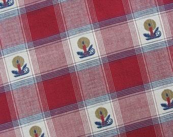 Cotton Christmas Fabric Cotton Plaid Fabric Christmas Plaid with Candle Holders - 1 Yard - HCF0909