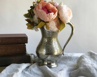 Vintage Silverplate Pitcher Etched Silver Toned Pitcher Vase