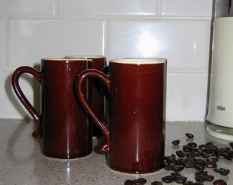 Vintage 1970s Brown Cappucino Mugs, Set of 4