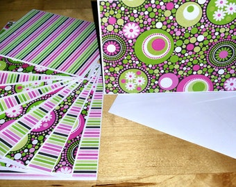 Set of 12, Blank Notes, Handmade, Cards, Girls, Pink, Green, Black, Stationery, Hearts, Gift, All Ocassion
