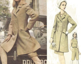 1960s Lanvin Womens Mod Double Breasted Coat, Jumpsuit and Skirt Vogue Sewing Pattern 1422 Size 14 Bust 34 Label Vogue Paris Original